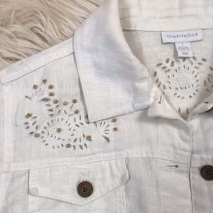 Charter Club Jacket  with Lace & Wood Bead detail
